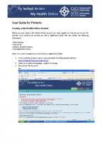 MHOL Vision User Guide for Patients Appt & Presc
